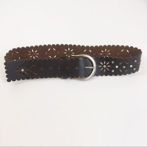 Express Leather Laser Floral Cut W/ Bead Detail